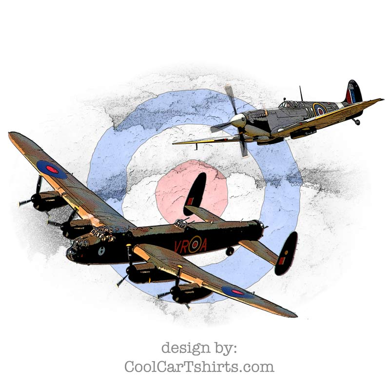 Spitfire & Lancaster t-shirt poster and more
